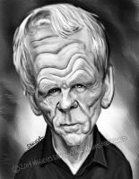 Nick Nolte black and white caricature by Jubhubmubfub