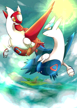Latios and Latias Commande - Commission by NaikoDraw