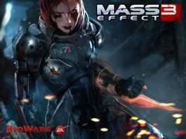 Mass Effect 3: FemShep Battle damage by zapf001