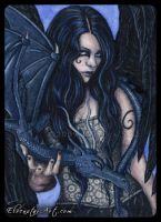 ACEO -- Blue Companion by ElvenstarArt