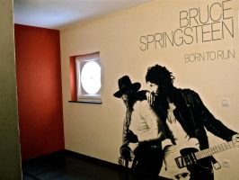 Bruce Springsteen Born to Run wall painting by Stew-Illustrations