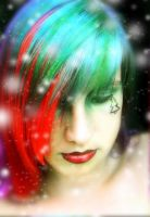 Christmas red and green hair by littlehippy