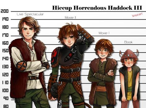 All versions of Hiccup by Kadeart0