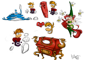 Rayman Origins sketches by J-j-a-y