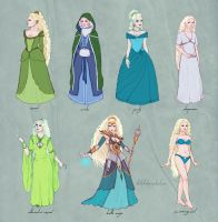 sorceress' outfits / Shavana ref sheet by Ithilloth
