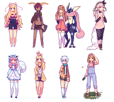 Pixel Doll Batch by cloudylicious