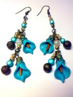 blue flower - earrings by sississweets