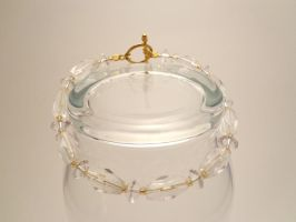 Clear Glass and Gold Bracelet 22 by TheSortedBead