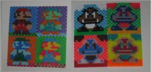 Mario and Goomba Warhol-style Perler Art by miss-j-bean
