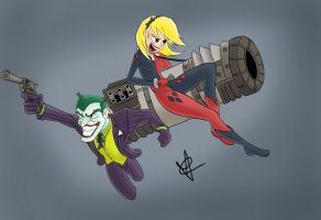 Harley and Joker in Action by xEclypze