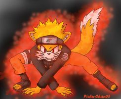Kyuubi Naruto the fox-colored by Pichu-Chan05