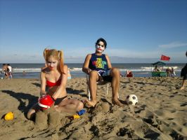 Beach day with the Joker and Harley Quinn HA HA HA by LeanAndJess