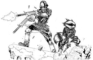 Star Lord and Rocket Raccoon by timothygreenII