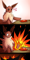 Eevee into Flareon by Theoluma