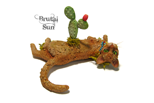 Earth Spirit, a polymer clay cat sculpture by brutalsunstudio
