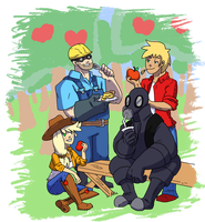 Apple Jack, Big Mac, Engineer, and Pyro by Ominous-Artist