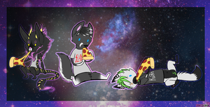 PIZZA PARTY IN SPACE by SpikedKanine