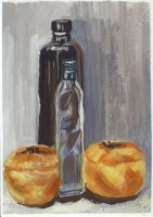 Bottles And Persimmons by h-i-l-e-x