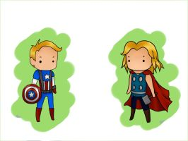 Captain America and Thor by XOpalmtreesOX