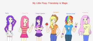 MLP FIM humans Mane Six by Kaeru456