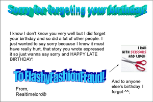 To FlashyFashionFraud by realtimelord