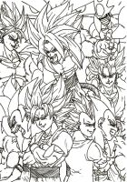 DBZ Budokai 3 Custom Cover Lineart by PLATINUMBROLY
