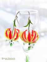 Earrings 'Gloriosa Lily' - Polymer Clay Flowers by Vakhara