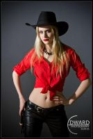 Cowgirl in red shirt by Edward-Photography