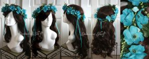 Azure Blue and Turquoise Floral Faerie Crown by enchantedsea