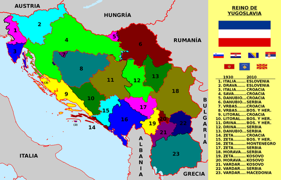 Old Yugoslavian banovinas and current countries by matritum