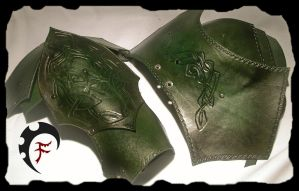 Green celtic shoulders by Feral-Workshop