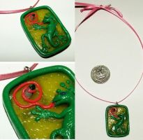 Gecko eating fly frame pendant by sneakyfetusprod