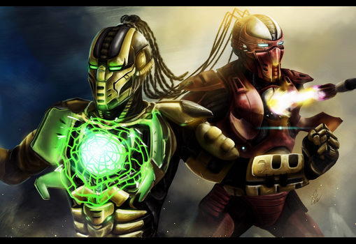 COMMISSION: Mortal Kombat - Cyrax and Sektor by Chooone