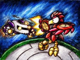 Air battle in the Robo Arena by shadowspark