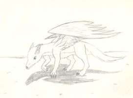 Wolf with wings by ghostdragoness16