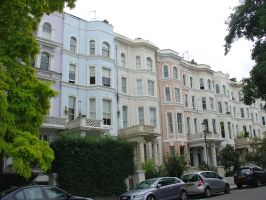 Pastel houses in Notting Hill by LunaticDesire