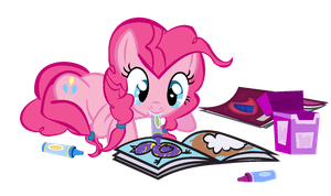 Pinkie Pie stop coloring library books... by Nekochnyan
