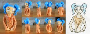 Cyan Half-Size Clay Statuette by nicolaykoriagin