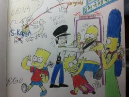 The simpsons:Visiting Korea. by komi114
