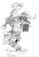 Enraged half-orc barbarian by TravTheMad