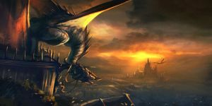 Dragon on tower by 89Red