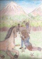 Hazel Arion Leo and Frank in a meadow (cloored) by Larry-and-Lazel