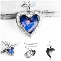 Handmade Resin Galaxy Silver Heart Locket Necklace by crystaland