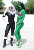 The Black Cat and She-Hulk by enonorez