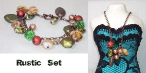Rustic Charm Bracelet and Necklace by ACrowsCollection
