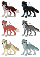 Wolf Point Adoptables CLOSED by TheDaylightWolf