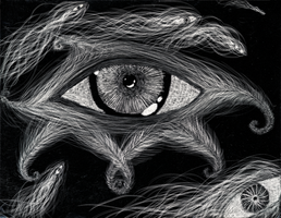 'Eye' Scratchboard 2007 by Lysergenocide