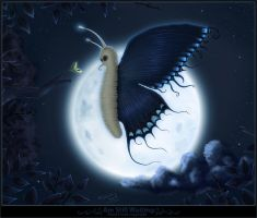 butterfly and moon by blackhand1