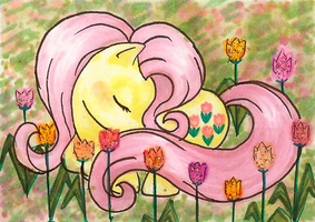 Sleeping Posey ATC by midori-no-ink