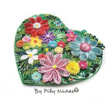 Quilled floral heart by Pilys-art